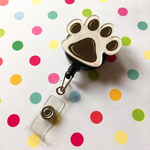 Cute Brown Paw Decorated Retractable Badge Reel ID Holder with Clip Backing