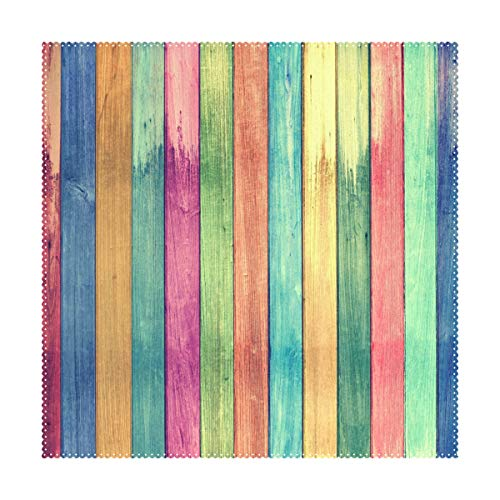 Placemats Rainbow Colors Wood Board Square Place Mats for Dining Table Set Heat Resistant Washable Polyester Kitchen Table Mats 1 piece -