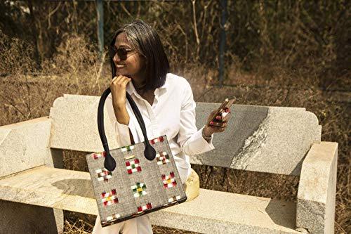 Grey Multicolored Check Ikat Box Handbag/elegant/classy/spacious/shoulder handle