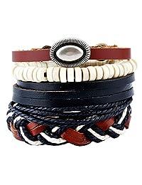 RechicGu Pack 4 Braided Rope Leather Wood Bead Concho Zuni Bracelet Bangle Cuff Gift