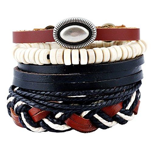 - RechicGu Pack 4 Braided Rope Leather Wood Bead Concho Zuni Bracelet Bangle Cuff Gift