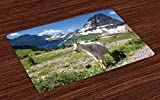 Lunarable Goat Place Mats Set of 4, Wild Animal Photo in Glacier National Park in The United States of America Idyllic, Washable Fabric Placemats for Dining Room Kitchen Table Decoration, Multicolor