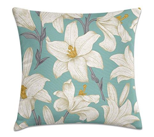 Almofada - Floral branca e azul 40x40cm