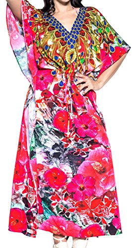 LA LEELA Trajes de baño del Traje de baño del Vestido caftán caftán Camisa de Dormir Aloha rayón Mano Maxi de Las Mujeres Multicolor_v542
