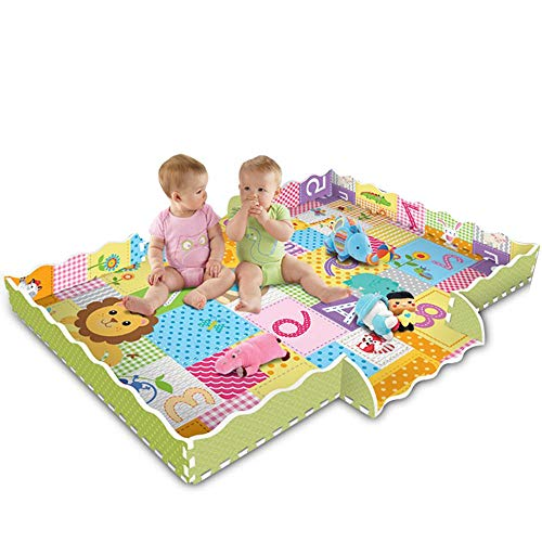 Baby Foam Play Mat with Fence,Stitching Climbing Mat Foam Carpet Floor Tiles Lion King Crawling Puzzle Mat Thicken Living Room Non Toxic Baby Playmat for Infants Toddlers Kids