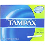 Tampax Cardboard Applicator Tampons, Super Absorbency, 54 Count (Pack of 2)