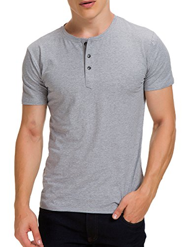 Boisouey Men's Casual Slim Fit Short Sleeve Henley T-Shirts Cotton Shirts Light Grey L