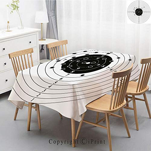 lecloth Athena,Natural Rectangular Table Cloth for Indoor and Outdoor Use,Natural Tablecloth,55x70 Inch,Black and White,Target Numbers and Bullet Holes Shooting Polygon Training Il ()