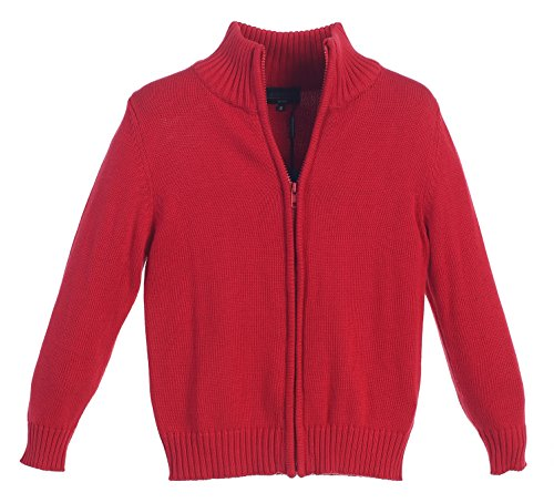 Gioberti Boy's Knitted Full Zip 100% Cotton Cardigan Sweater, Red, Size 18 ()