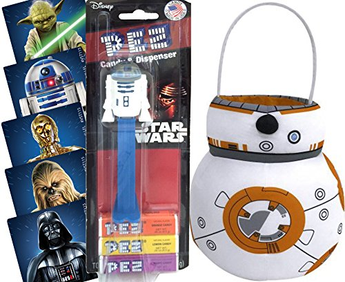 Star Wars BB8 Droid Plush Basket + Pez Toy Candy Dispenser R2D2 & Bonus Stickers (Pop Culture Halloween Costume Ideas)