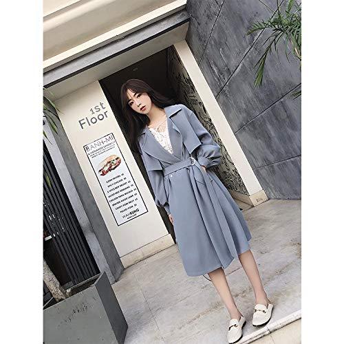 Coupe Vent Revers Taille Manteau Automne Temprament Dentelle L Code Manteau DFSXCZ Long Coupe Femme Bleu Moyen Mince Cqwz1n8