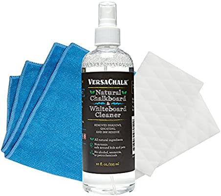 Versachalk Kit borrador y espray limpiador de pizarra 100% natural (29,5 cl) para rotuladores de tiza líquida, pizarras, y pizarrones blancos