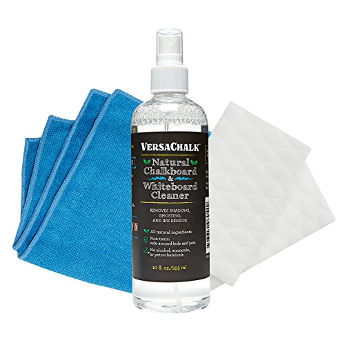 VersaChalk 100% Natural Chalkboard Cleaner Spray & Eraser Kit (10 oz) for Liquid Chalk Markers, Whiteboards, and Dry Erase Boards by VersaChalk