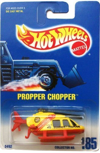 PROPPER CHOPPER (Yellow/Red Search & Rescue Helicopter) * 1991 Hot Wheels #185 1:64-scale