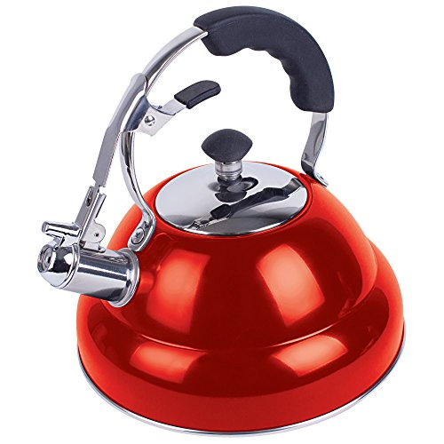 Chef's Secret 2.6 liter Gloss Red Stainless Steel Tea Kettle with Copper Capsule Bottom