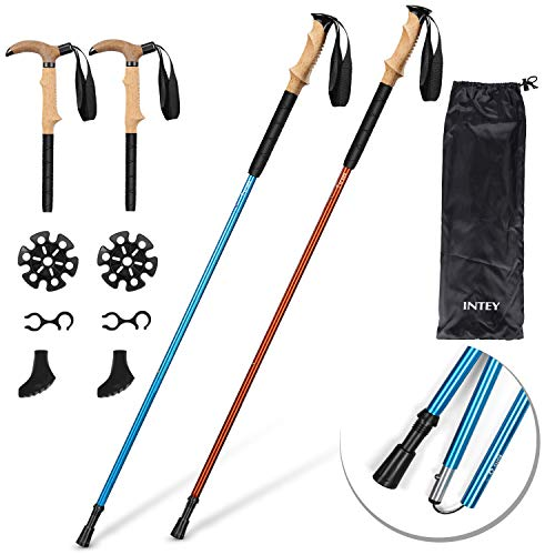 - INTEY Trekking Poles, 2 Pack Collapsible Hiking Walking Sticks, Anti Shock, Lightweight Aluminum, Adjustable Strap, Push-Lock, Ergonomic Grip