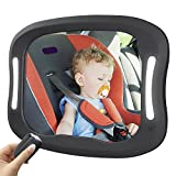 Baby Car Mirror with Remote Control Light, Swify Baby Car Seat Mirror, Rear View Facing Infant in Backseat, Clear Reflection Easily Observe Baby- Double Straps & 360°Adjustable