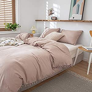 3 Pieces Taupe Bedding Tan Grey Duvet Cover Set Ball Fringe Pattern Design Soft Taupe Grey Bedding Sets Queen 1 Duvet…