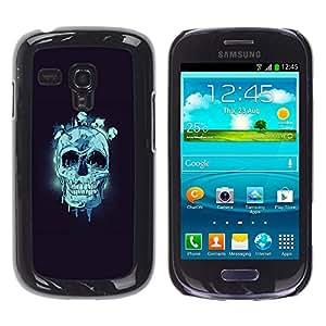 KLONGSHOP // Cubierta de piel con cierre a presión Shell trasero duro de goma Protección Caso - Cráneo azul - Samsung Galaxy S3 MINI 8190 //