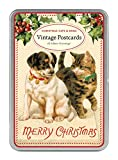 Cavallini Papers Christmas Cats and Dogs Glitter Greetings 12 Assorted Glittered Postcards Per Tin