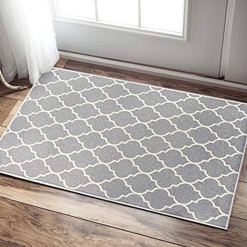 jinchan Moroccan Tile Trellis Area Rug Door Mat Floorcover Indoor Outdoor Carpet for Living Room Grey 2'x 3'3