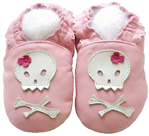 - Leather Baby Soft Sole Shoes Boy Girl Infant Children Kid Toddler Crib First Walk Gift Skull Pink (0-6month, Pink)