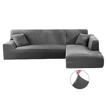 Iraza 2 Piezas Funda de Sofa Elástica Chaise Longue Brazo Largo Modelo Tunez Desde 190 a 300 cm (Gris, 190_x_230_cm)