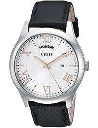 GUESS Men's Quartz Rubber and Leather Casual Watch, Color:Black (Model: U0792G8)