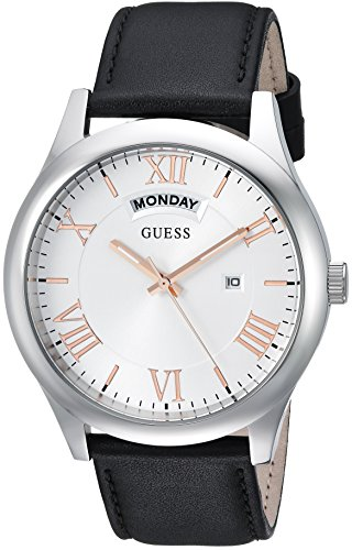 GUESS Men's Quartz Rubber and Leather Casual Watch, Color:Black (Model: U0792G8)
