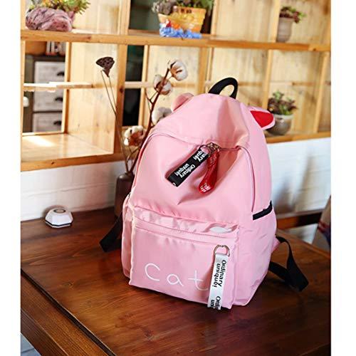 Back scuola Fashion Orecchie Zaino colore nero grande Rosa capacità Borsa Coniglio Print Cute Cat leggeri Houyazhan studenti da per wX7FqdF