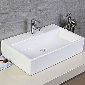 Decoraport White Rectangle Ceramic Bathroom Kitchen Vessel