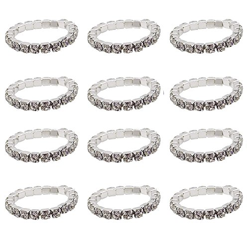 ZAKIA 12pcs Elastic Crystal Toe Ring Mixed Color Wholesale Lot Body Jewelry Pack (Silver)