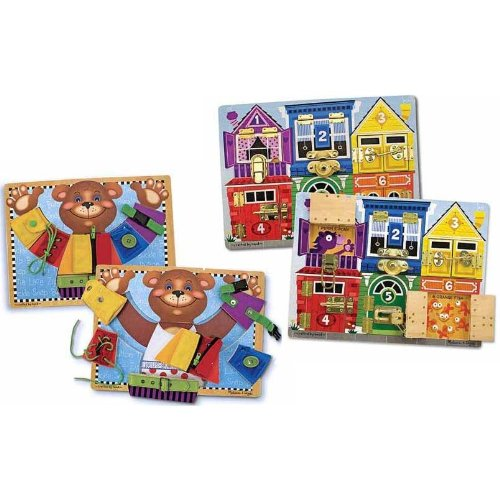 Melissa and Doug Basic Skills and Latch Board Bundle]()