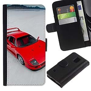 Protector de cuero de la PU de la cubierta del estilo de la carpeta del tirón BY RAYDREAMMM - Samsung Galaxy S5 V SM-G900 - Red Sports Car
