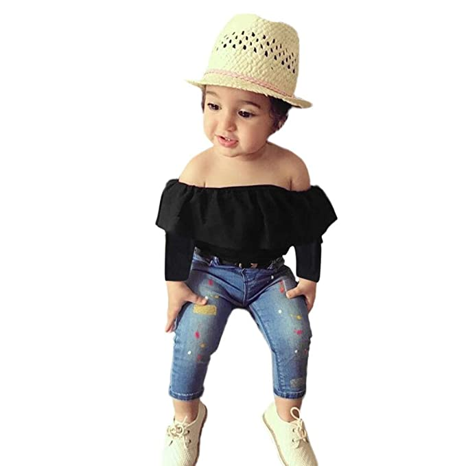 f99f429793006b Euone® Toddler Outfits Girls Off Shoulder Tops Shirts + Jeans Pants +  Headband (1