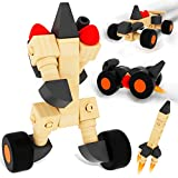 ColorGo Wooden Educational Toys Car Preschool Toddler STEM Take Apart Toys Cars Building Blocks with 28pcs Nature Wood Shapes to Create 20 Types of Wooden Block Toy Set Vehicles for Boys Girls