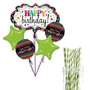 Dress My Cupcake Party Decoration Kit with Straws and Balloons, Celebrate Birthday Party