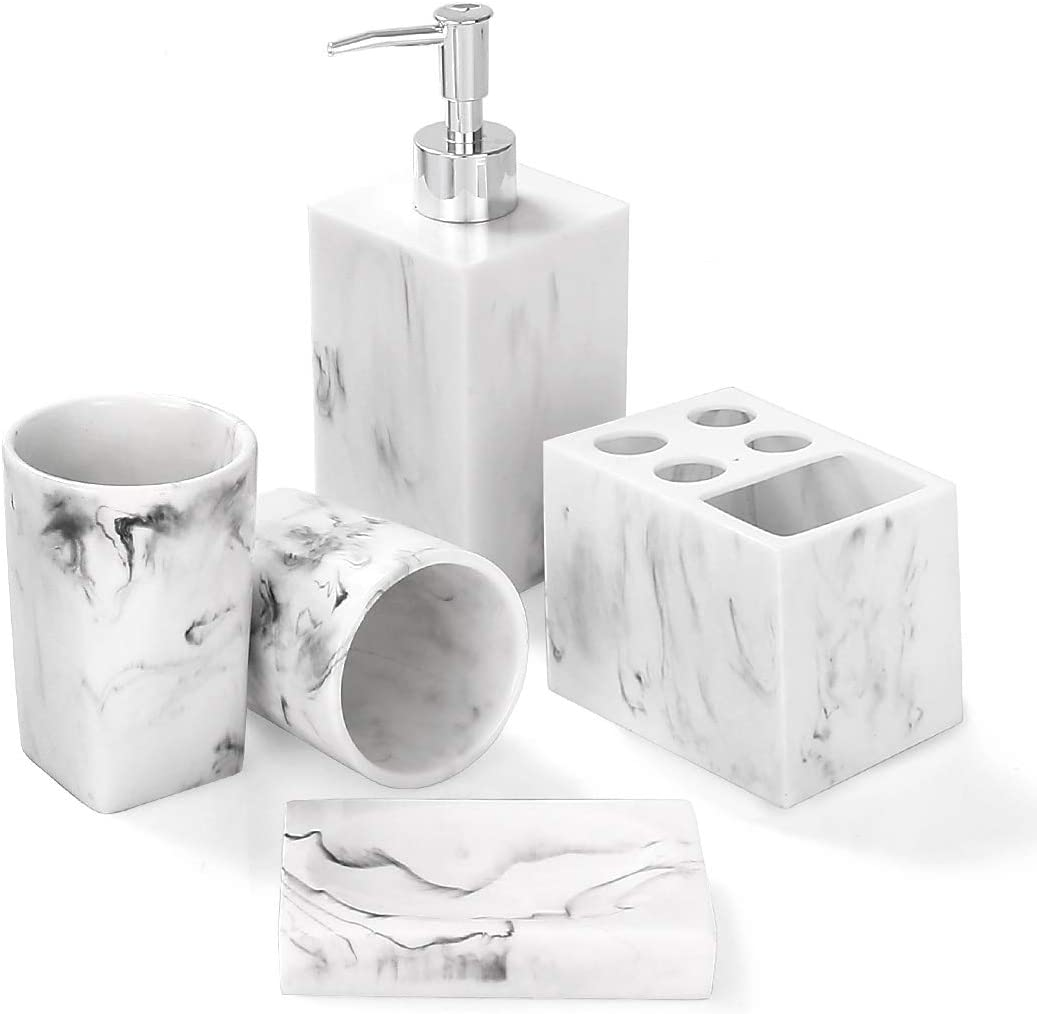Bathroom Accessories Set, 11 Piece Marble Complete Bathroom Set for Bath  Decor, Includes Toothbrush Holder, Soap Dispenser, Soap Dish, 11 Tumblers,  Ink