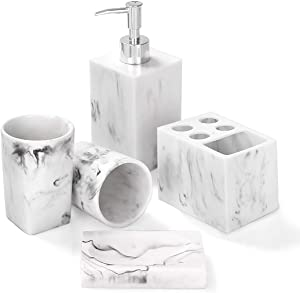 Bathroom Accessories Set, 5 Piece Marble Complete Bathroom Set for Bath Decor, Includes Toothbrush Holder, Soap Dispenser, Soap Dish, 2 Tumblers, Ink White
