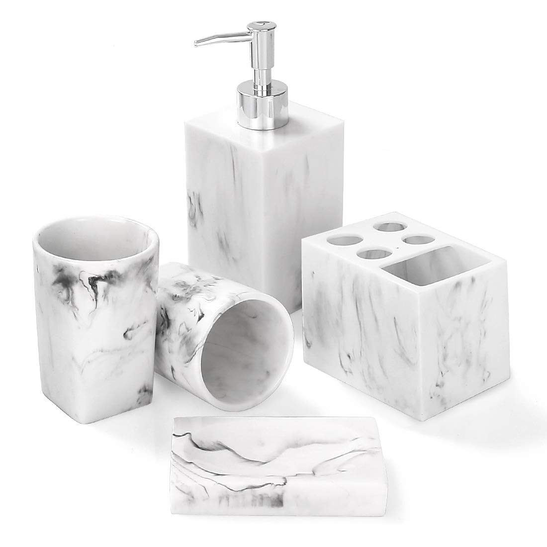 Bathroom Accessories Set 5 Piece Marble Complete Bathroom Set For Bath Decor Includes Toothbrush Holder Soap Dispenser Soap Dish 2 Tumblers Ink White Buy Online In Pakistan At Desertcart Pk Productid 162450423