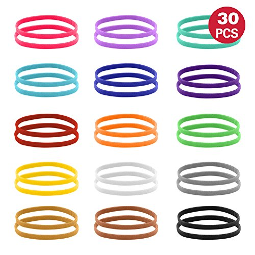 UIUIX Puppy Whelping Collars, 30 PCS (2 Pack) Puppy ID Collars, Double-Sided Soft Adjustable ID Bands for Newborn Pet Dog Cat