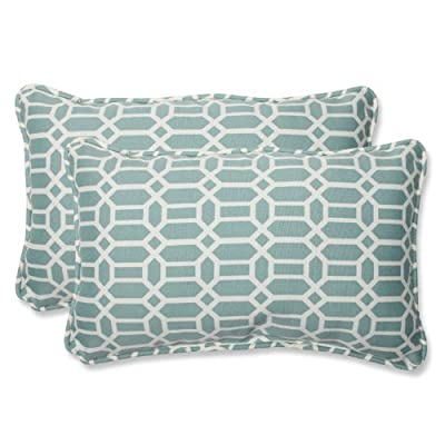 Pillow Perfect Outdoor Rhodes Quartz Rectangular Throw Pillow, Set of 2 - Includes two (2) outdoor pillows, resists weather and fading in sunlight; Suitable for indoor and outdoor use Plush Fill - 100-percent polyester fiber filling Edges of outdoor pillows are trimmed with matching fabric and cord to sit perfectly on your outdoor patio furniture - patio, outdoor-throw-pillows, outdoor-decor - 51jhuW 5ImL. SS400  -