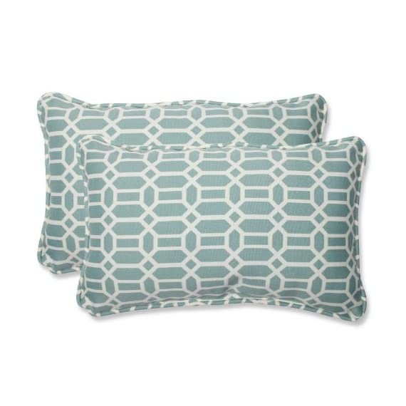"""Pillow Perfect Outdoor/Indoor Rhodes Quartz Lumbar Pillows, 11.5"""" x 18.5"""", Blue, 2 Pack - Includes two (2) outdoor pillows, resists weather and fading in sunlight; Suitable for indoor and outdoor use Plush Fill - 100-percent polyester fiber filling Edges of outdoor pillows are trimmed with matching fabric and cord to sit perfectly on your outdoor patio furniture - patio, outdoor-throw-pillows, outdoor-decor - 51jhuW 5ImL. SS570  -"""