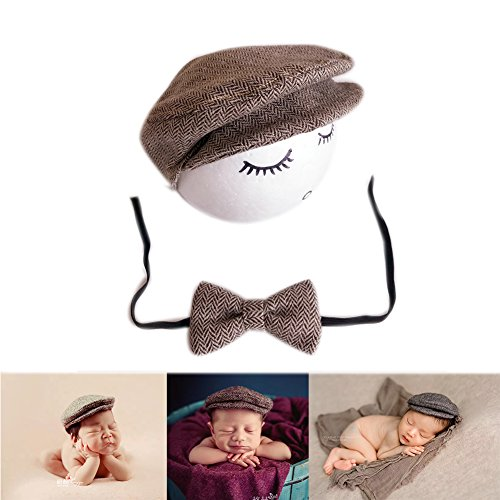 BINLUNNU Newborn Baby Photography Photo Props Boy Girl Costume Outfits Hat Tie Set (Coffee)