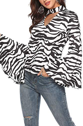 Women's Casual T Shirts Zebra Pattern Printed Tops Long Bell Sleeve Shirt Hollow Out V Neck Line Hanging Neck Animal Stripe Print Blouse ()
