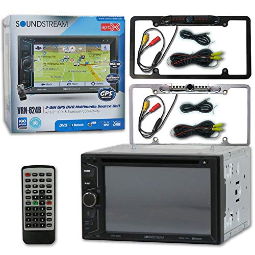 "Soundstream VRN-624B 2-DIN 6.2"" Navigation CD DVD Car Stereo with Bluetooth + Remote and DCO Full License Plate Night Vision Waterproof Back-up Camera (Optional Color)"