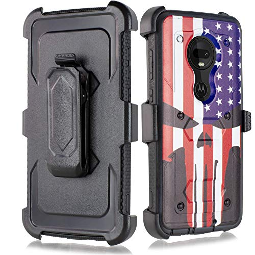 for Moto G7 Power Case, 6goodeals Heavy Duty Hard Shock Protector Full Protective Shield Case Cover with Belt Clip and Kickstand Built in Screen for Motorola G7 Power (Skull)