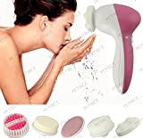 PETRICE 5 in 1 Multifunctional Mini Beauty Skin Care Brush Deep Clean Electric Facial Cleaner Wash Face Brusher Hand Foot Skin Exfoliation Massager Scrubber Machine Set (Battery Is Not Provided)