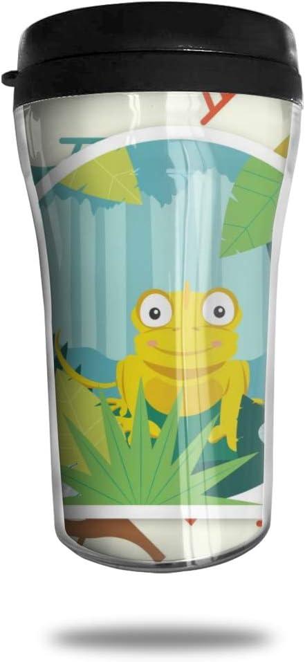 OUYouDeFangA - Taza de café de viaje con diseño de pájaro (3D, portátil, taza de té aislada, botella de agua para beber con tapa, 250 ml)
