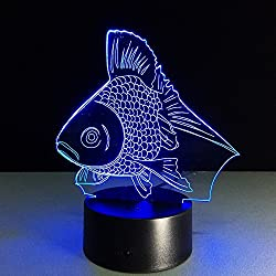 20 Goldfish 3D Optical Illusion Night lamp 7 Color Changing LED Light for Kids Bedroom Decor